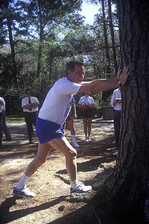 Houston, Texas. Pres. George H. Bush out for a jog.